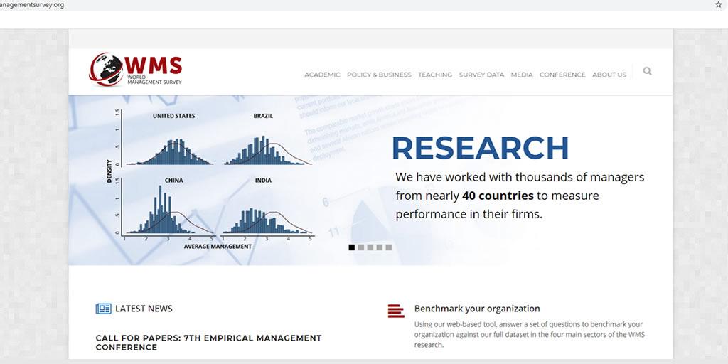 Snapshot of world management survey homepage https://worldmanagementsurvey.org/